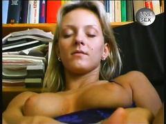 Naughty breasty golden-haired housewive masturbates on camera