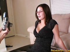 Sizzling sexy and cute dark brown girlfriend positions on webcam
