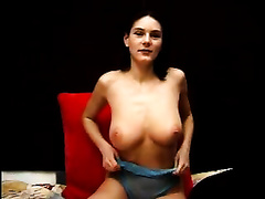 Busty dark brown sweetheart in fishnet top gives astonishing tugjob until that babe acquires biggest tit spunk flow