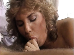 Two vintage milfs sharing one retro guy with mustache
