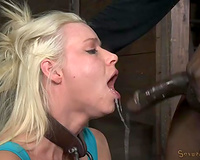 Blonde with bound up hands acquires brutally hammered by two dmoinanted chaps