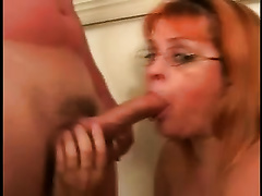 This horny redhead overweight wench has 2 paramours coming over