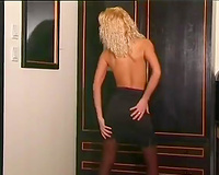 Exciting erotic scene with bushy thin golden-haired sweetheart