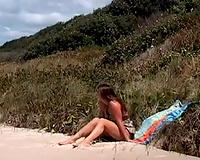 My gorgeous Russian friend masturbates on the beach on my camera