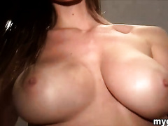 Captivating slim buxom hottie shows off her body on livecam
