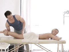 Pretty blond allows a stud to massage her body and booty