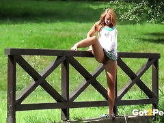 Mesmerizing amateur redhead cheating wife makes water in leg up position