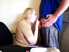 Sloppy oral in the living room by my hot hotwife