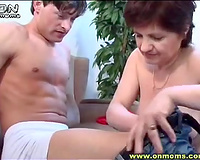 Young lover acquires his rod sucked my lewd old milf in his room