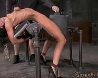 Flexible bent over yielding brunette receives throat drilled hard