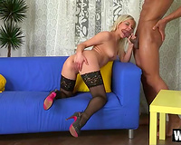Sizzling blond doll Alexis acquires screwed missionary style in interracial fuck session