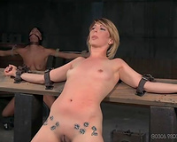 Cute blond honey has her hands fixed to the wooden desk