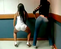 Two charming Brazilian brunettes shake their booties