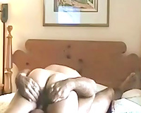 Mature uncle eating out his wife's soaked cunt in 69 position
