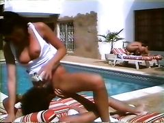 A wild group sex action by the pool for your viewing joy