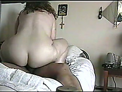 Extremely bootyful white wench rides my black buddy's beefy rod