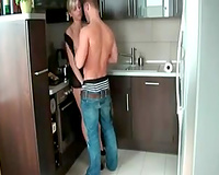 Watch my ally drilling his naughty leggy golden-haired girl in the kitchen