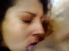 Nice facial and mouthful for my torrid curly Latina girlfriend