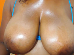 Damn hawt horny nympho exposed her flawless saggy large boobies