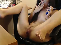 Pretty brunette hair ex Gf entertains herself by playing with a vibrator