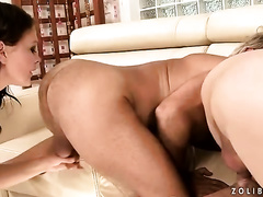 Disgusting three-some scene with 2 gaffers and hot black cock slut