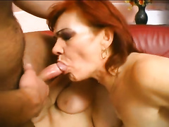 Chubby aged dark brown and her redhead ally share a hard schlong