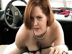 Mature doxy in corset rides handbrake lever in my car