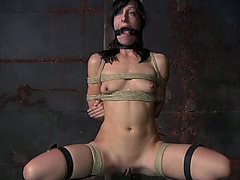 Brunette wife is tied to the post and gagged with thongs