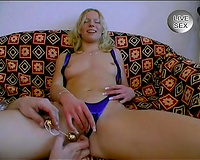Curly voracious golden-haired playgirl receives stiff ramrod unfathomable inside her