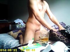 Me screwing my pretty brunette hair wife's moist pussy