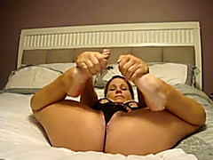 Awesome wild and hot brunette hair babe in sexy stuff glad me with web camera show
