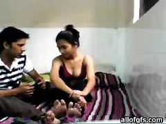 Hot foreplay with my Indian girlfriend in advance of this babe sucks my jock