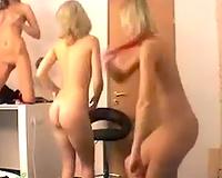 Beautiful and hot blonde cuties posing seductive on camera