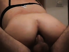 Anal hardcore fisting and stuffing her pants inside