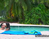 Mexican gf screwed by the pool