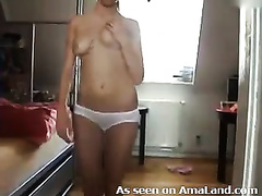 This sexy chick has a dance pole in her room for a reason