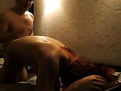 Passionate youthful redhead Russian girl opens her legs for her boyfriend