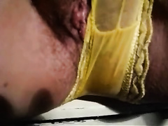 Hot mature dirty slut wife rubs yellow undies all over her curly cum-hole