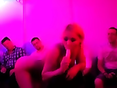 Curvy golden-haired Hungarian stripper shakes her large mangos at my party
