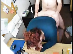 Busty big beautiful woman redhead secretary serves me her slit at the work place