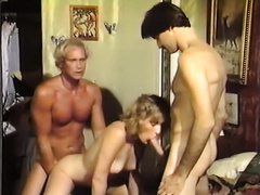 Dirty blond cheating wife lets 2 chaps fuck her hard in 3some