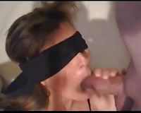 Blindfolded brunette hair mommy is engulfing my big pecker deepthroat