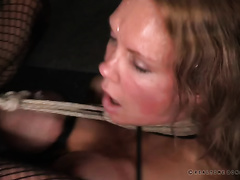 Busty golden-haired with a dong is pumping aged blond slutty wife