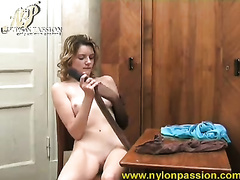 Lovely all alone short haired honey Nadia plays with vibrator and hose