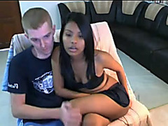 Pale white man enjoys his wicked skinny dark sweetheart stripping on cam