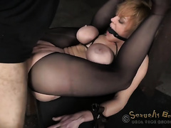Busty blond hottie folded into 2 and screwed like a slut
