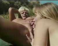 Muff diving session with 2 brazen golden-haired lesbos outdoors