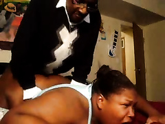 Fat ebony filmed when being raped by a much younger man