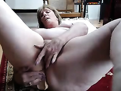 I stuff my older booty gap with a sex toy to stretch it