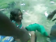 African bitch raped by one horny hunk in outdoor scenes